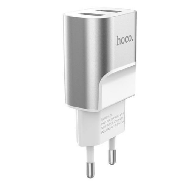 СЗУ Hoco C47A Metal dual port charger(EU) 2USB 2.1 A Silver