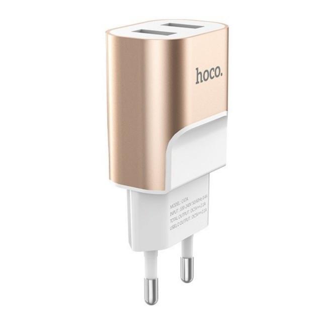 СЗУ Hoco C47A Metal dual port charger(EU) 2USB 2.1A Gold
