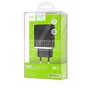 СЗУ Hoco C42A Vast power QC3.0 single port charger(EU) 1USB 3A Black, фото 2