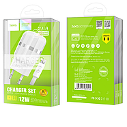 СЗУ Hoco C41A Wisdom Dual Port Charger set with Lightning cable(EU) 2USB 2.4A White, фото 2