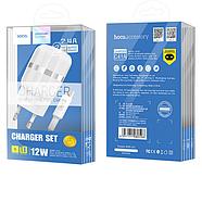 СЗУ Hoco C41A Wisdom Dual Port Charger set Micro with cable(EU) 2USB 2.4 A White, фото 2