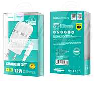 СЗУ Hoco C41A Wisdom Dual Port Charger set with Type-C cable(EU) 2USB 2.4A White, фото 2