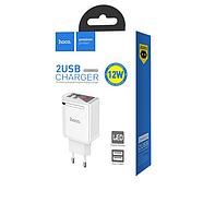 СЗУ Hoco C39A Enchanting dual-port digital display charger(EU) 2USB 2.4A White, фото 2