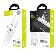 СЗУ Hoco C37A Thunder power quad port charger set with Lightning cable(EU) 1USB 2.4 A White, фото 2