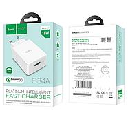 СЗУ Hoco C34A Platinum intelligent charger(EU) QC3.0 1USB 2.4 A White, фото 2