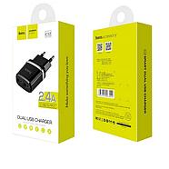 СЗУ Hoco C12 Smart dual USB charger(EU) 2USB 2.4 A Black, фото 2