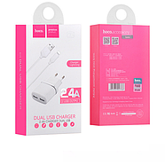 СЗУ Hoco C12 Smart dual USB charger set with Lightning cable(EU) 2USB 2.4A White, фото 2