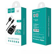СЗУ Hoco C12 Smart dual USB charger set with Micro cable(EU) 2USB 2.4A Black, фото 2