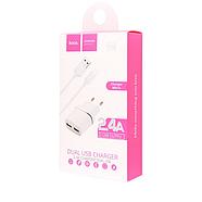 СЗУ Hoco C12 Smart dual USB charger set with Micro cable(EU) 2USB 2.4A White, фото 2