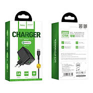 СЗУ Hoco C70A Cutting-edge single port QC3.0 charger set(Micro)(EU) Black, фото 2