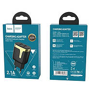 СЗУ Hoco C64A Engraved dual port charging adapter(EU) Black, фото 2