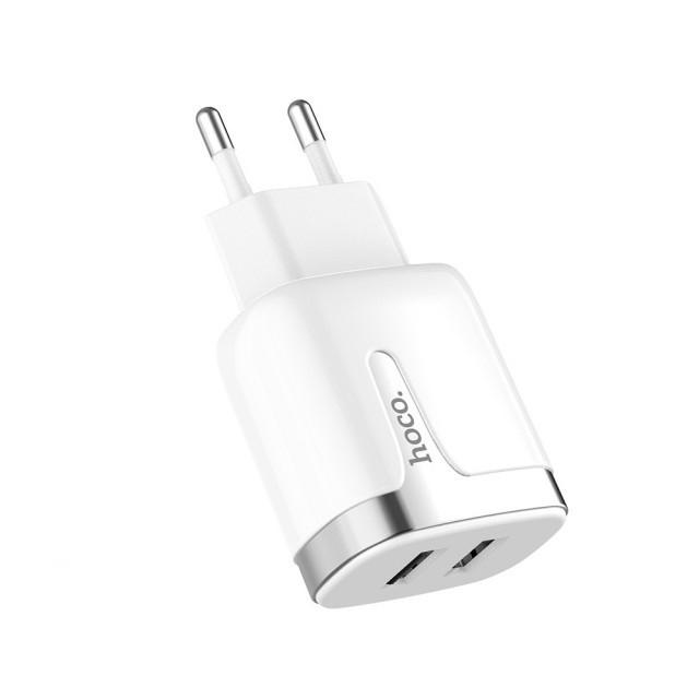 СЗУ Hoco C64A Engraved dual port charging adapter(EU) White