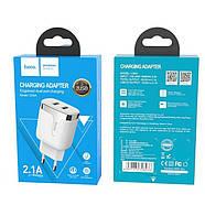 СЗУ Hoco C64A Engraved dual port charging adapter(EU) White, фото 2
