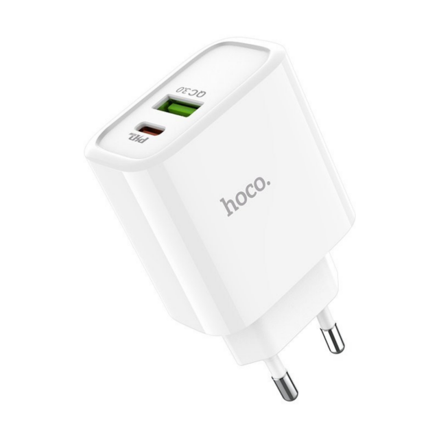 СЗУ Hoco C57A Speed charger PD+QC3.0 charger(EU) 2USB 3.1 A White