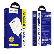 СЗУ Hoco C57A Speed charger PD+QC3.0 charger(EU) 2USB 3.1 A White, фото 2