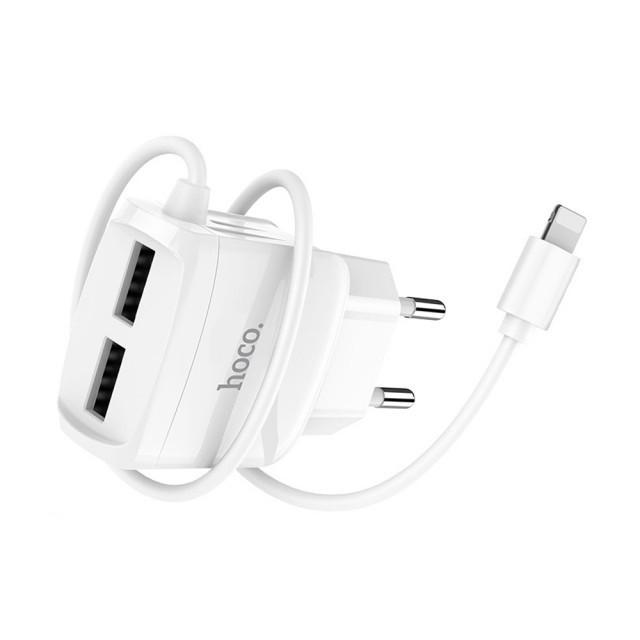 СЗУ Hoco C59A Mega joy double port charger for Lightning(EU) 2USB 2.1A White