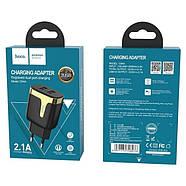 СЗУ Hoco C64A Engraved dual port charging adapter(EU) 2USB 2.1 A Black, фото 2