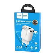 СЗУ Hoco C64A Engraved dual port charging adapter(EU) 2USB 2.1 A White, фото 2
