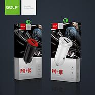 Зарядка для авто Golf GF-C7 Car Charger 3A fast charging 2USB (Type-C+USB output) Black, фото 2