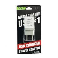 СЗУ Golf GF-U1EU Travel charger EU plug 1USB 1A White, фото 2