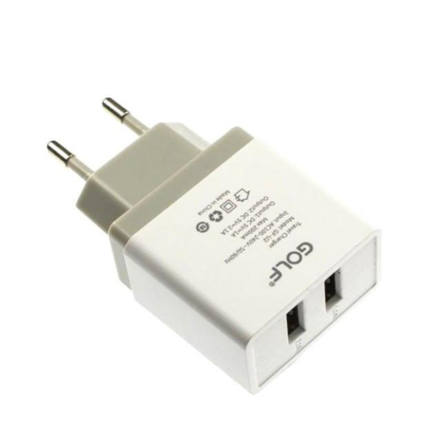 СЗУ Golf GF-U2EU Travel charger EU plug 2USB 2.1 A White