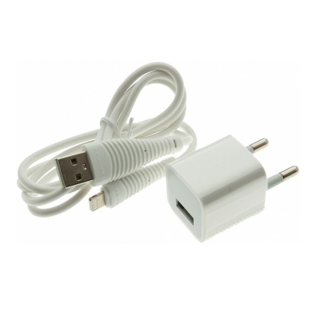 СЗУ WUW T18 charger(EU) with lightning cable 1USB 1A White
