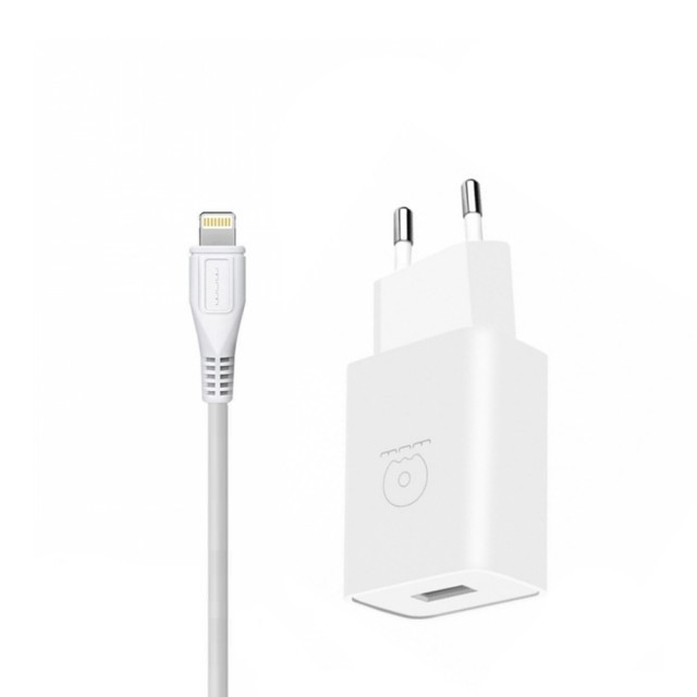 СЗУ WUW T28 2.1 A 2USB with Lightning Cable White