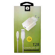 СЗУ WUW T28 2.1 A 2USB with Lightning Cable White, фото 2