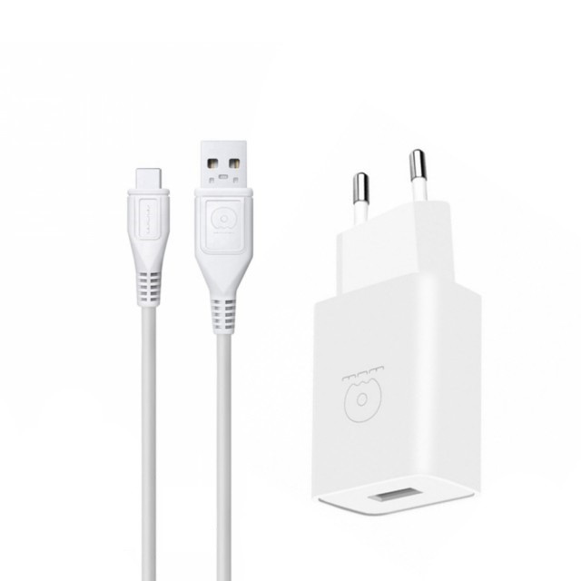 СЗУ WUW T28 2.1A 2USB with Type-C Cable White