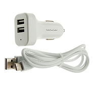 Зарядка для авто WUW T22 2USB 2A with Type-C cable White, фото 2