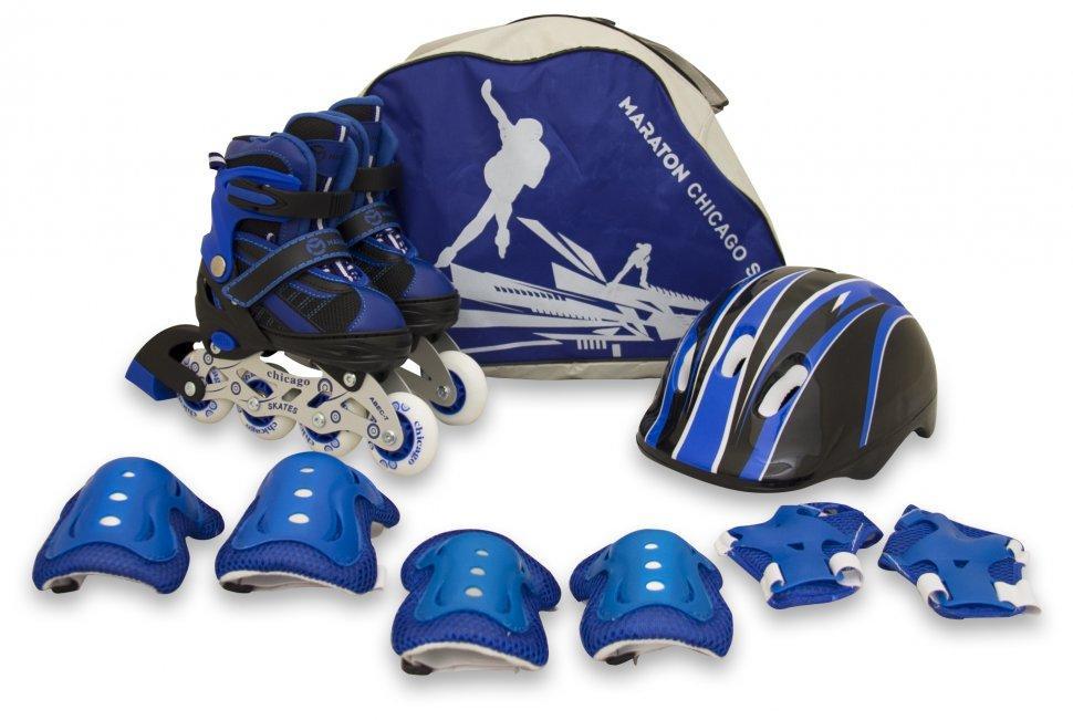 Комплект Maraton Combo (Маратон Комбо) (ролики, защита, шлем), синий, S (28-33), М (34-38)