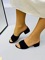 Шлепанцы на каблуке черные из натуральной замши, 36 размер