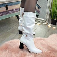 Сапоги белые зимние кожаные женские на невысоком устойчивом каблуке. 38 размер
