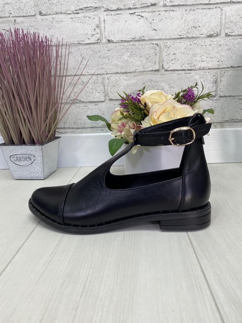 41 р. Туфли женские черные кожаные на низком ходу, из натуральной кожи, натуральная кожа