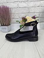41 р. Туфли женские черные кожаные на низком ходу, из натуральной кожи, натуральная кожа, фото 1