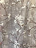 """Штора-Тюль Органза Цветы """"Сакура"""" Бежево-белый в кухню,спальню,прихожую,детскую"""