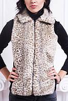 Светлая леопардовая женская жилетка, фото 1