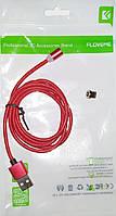 Комплект FLOVEME магнитный зарядный кабель прочный нейлон плетеный для iPhone с лед индикатором