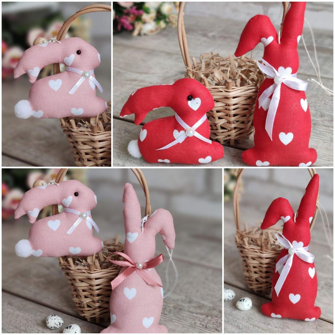 Комплект пасхальних кроликів, для віночка, для корзини, для декору, вис. 8 і 16 см., 90/75 (ціна за1шт+15гр)