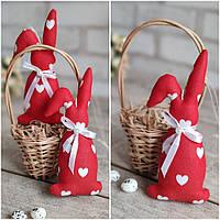 Кролик пасхальний ручної роботи, для віночка, для корзини, для декору, вис. 16 см., 45/39 (ціна за1шт+6гр)