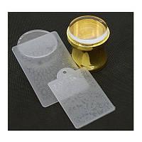 Штамп (печать) для стемпинга со шпателем и пластиной силиконовый широкий золотой