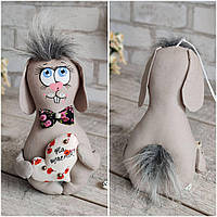 Кролик великодній із сердечком, ручної роботи, для декору, вис. 20 см., 140/120 (ціна за1шт+20гр), фото 1