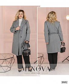 Стильное минималистичное пальто с подкладкой и поясом р. 44-46,48-50,52-54,56-58,60-62