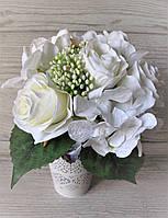 Букет белых роз и гортензий, 6 шт, цена 140 грн., фото 1
