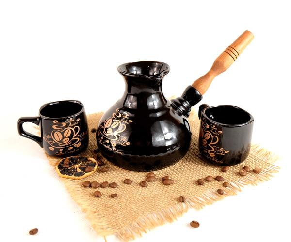 Турка Американо керамическая с деревянной ручкой и двумя чашками 500 мл + рассекатель