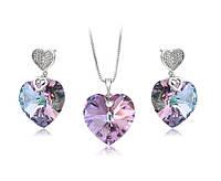 Украшения с кристаллами Swarovski ювелирная бижутерия Хупинг кулон сваровски сердце и сережки с сердечками, фото 1