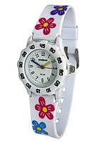 Детские наручные часы белые для девочки с яркими стрелками, с кольцом, мягкий ремешок, Biaoma Ромашки