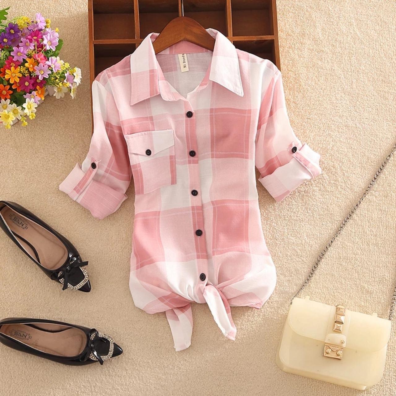 Женская рубашка в крупную клетку 44-48 (в расцветках)