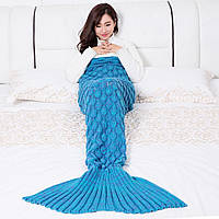 Вязаный плед хвост русалки синий 185 см