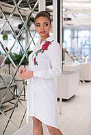 Женское стильное платье рубашка,слегка удлинённое сзади с поясом на талии, с вышивкой на плече ., фото 1